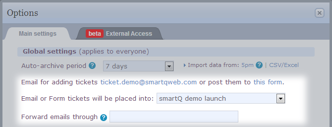 smartQ email to tickets setting